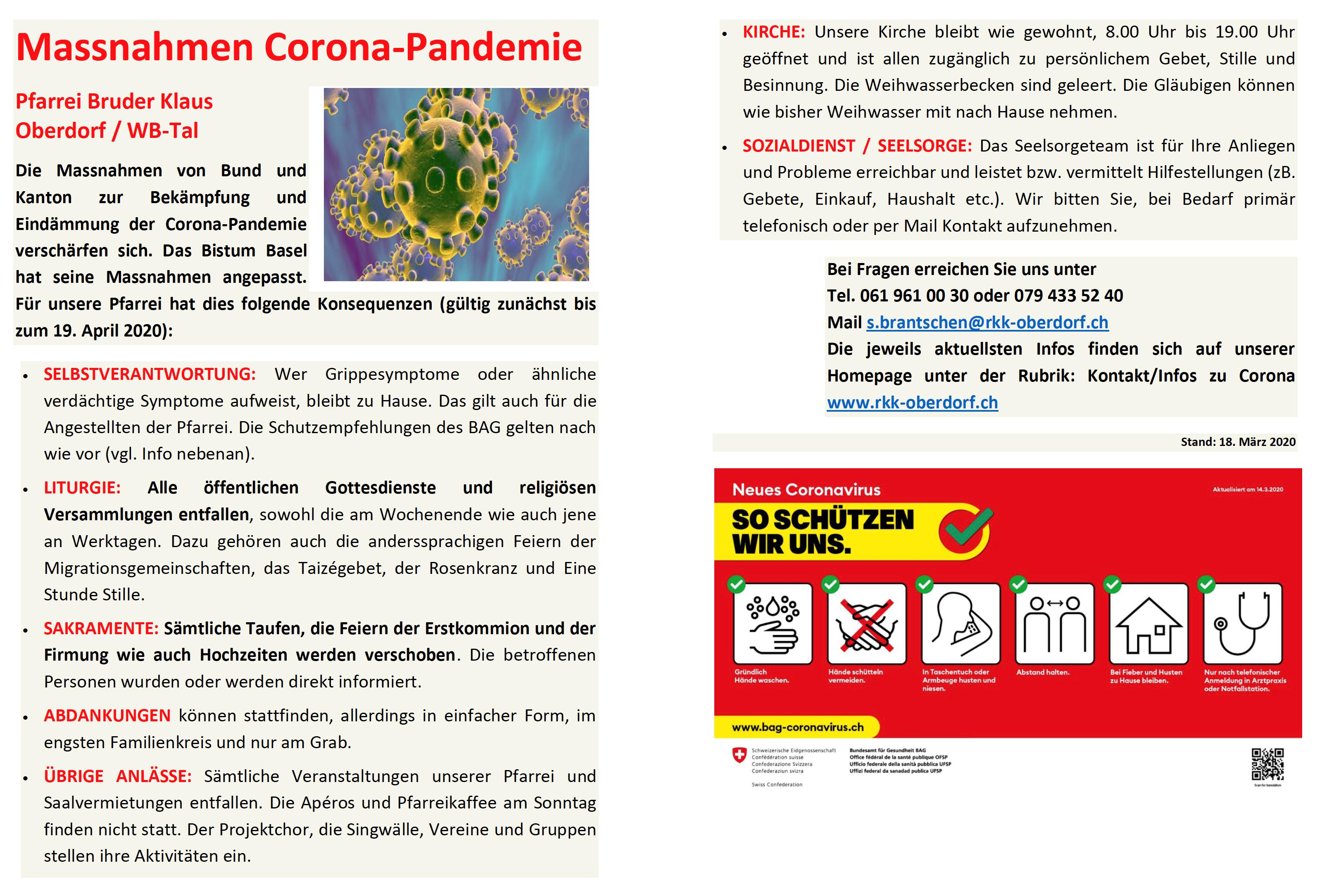 Maßnahmen Corona